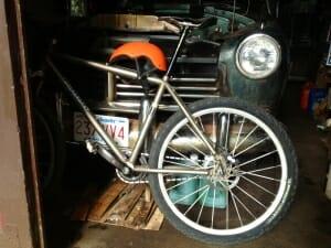 IF Bike & 1949 Hudson in Per's garage.